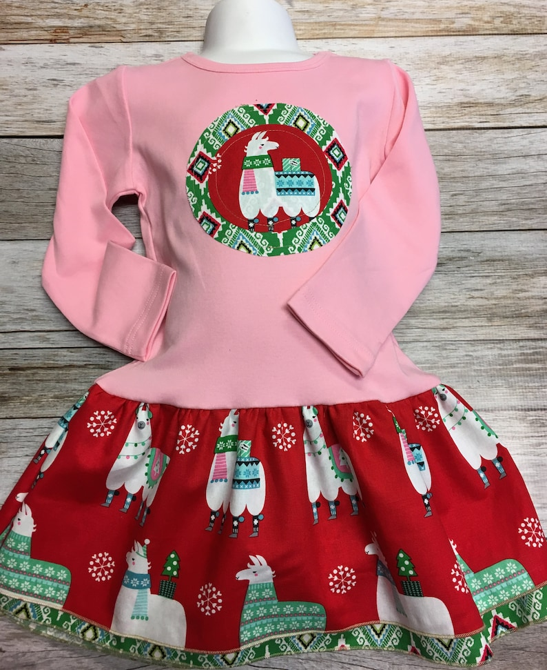 Girls Pink Llama Christmas Dress Applique Holiday Dress with image 0