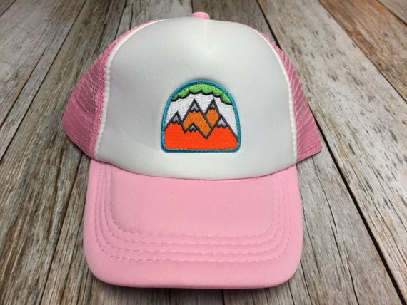 a817ca3b410 Girls Toddler Kid Pink Trucker Hat with 5 Mountain Patch