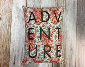ADVENTURE Throw Pillow Cover with Grey Denim Backing
