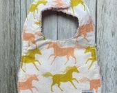 Baby Girl Bib in Peach and Golden Unicorn Fabric - Baby...