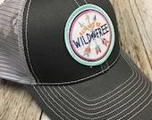 Women's Trucker Hat - Wild and Free Patch - Gray Trucker Hat