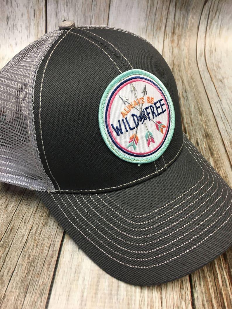 Women's Trucker Hat  Wild and Free Patch  Gray Trucker image 0
