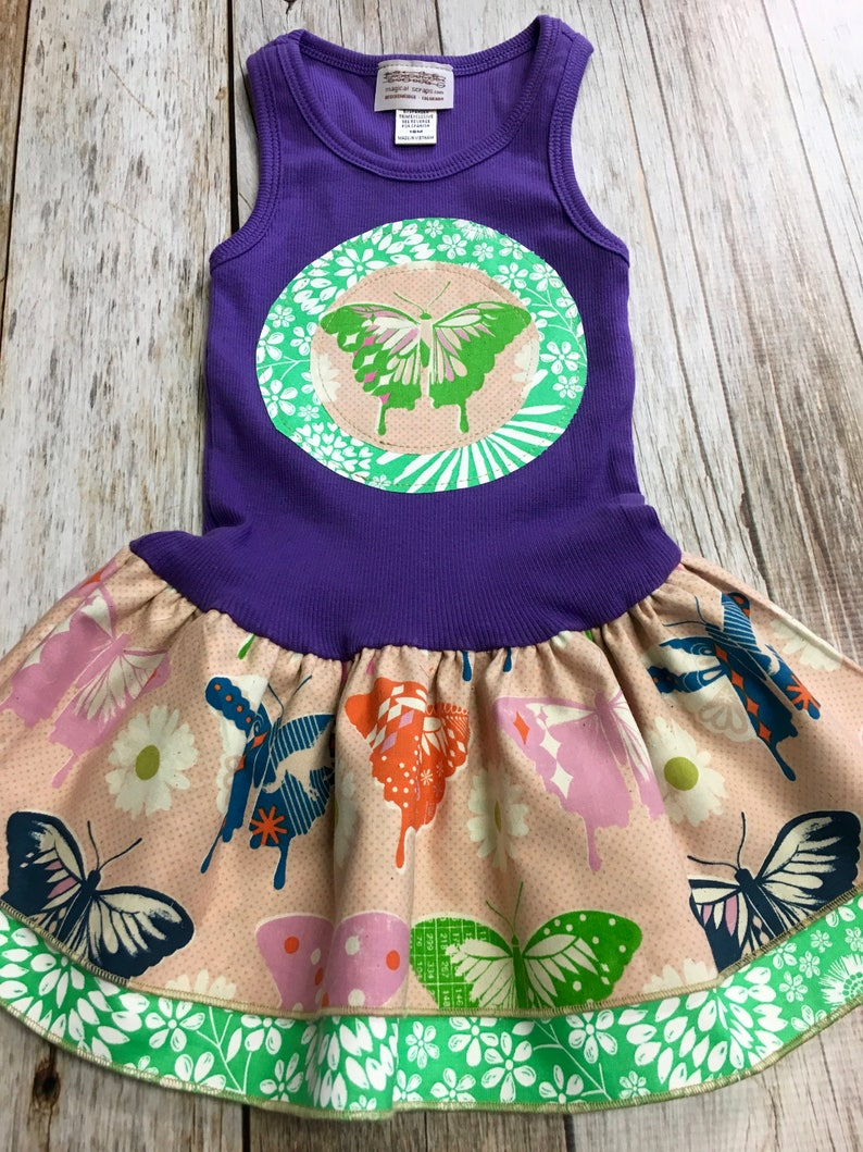 Girl's Toddler Tank Dress  Purple Butterfly  Infant Baby image 0