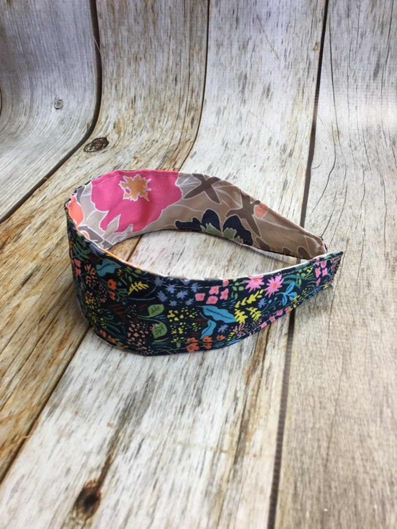 Reversible Fabric Covered Headband  Navy Floral & Colorful image 0