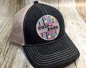Women's Trucker - Colorado Love Patch Trucker Hat- Cute Black Denim Girly Trucker