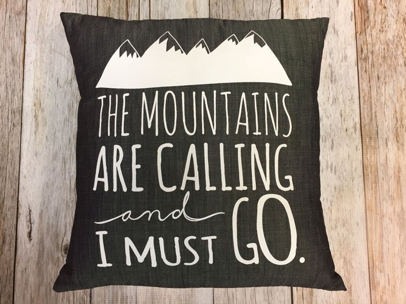 Grey Denim 14 Pillow The Mountains Are Calling and image 0