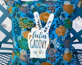 """Blue Floral 14"""" Pillow :  """"Feelin' Groovy""""  with blue Denim backing."""