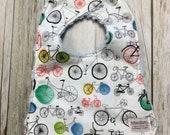 Baby Bib in Multi-Color Bicycle Print