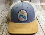 Women's Trucker Hat - Take Me To The Mountains Patch - Gray and Tan Trucker Hat- Cute Girly Trucker