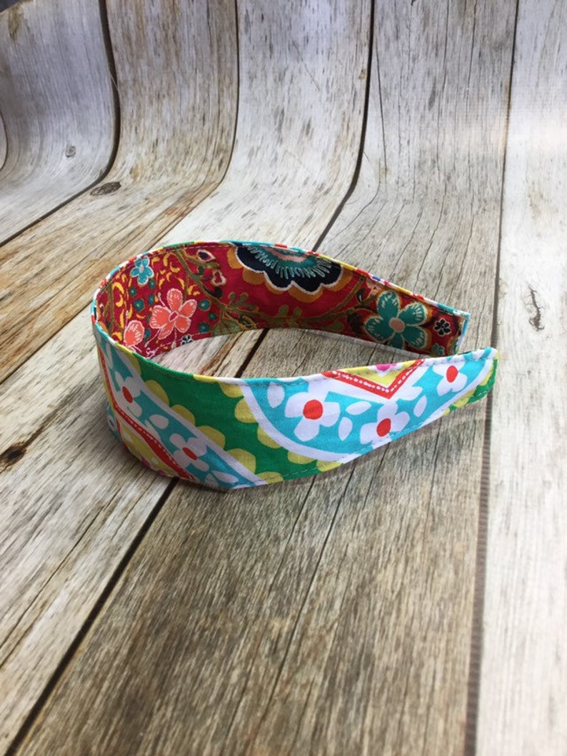 Reversible Fabric Covered Headband  Red Floral & Colorful image 0