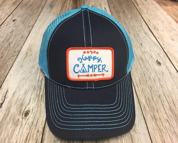 Women s Trucker Hat Happy Camper Patch Blue Trucker  2131e16e98a3