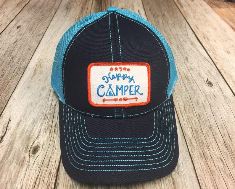 Women's Trucker Hat  Happy Camper Patch Blue Trucker image 0