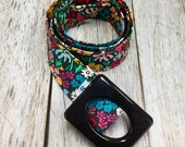 Women's Fabric Belt - Black Background with Small Colorful Spring Flowers