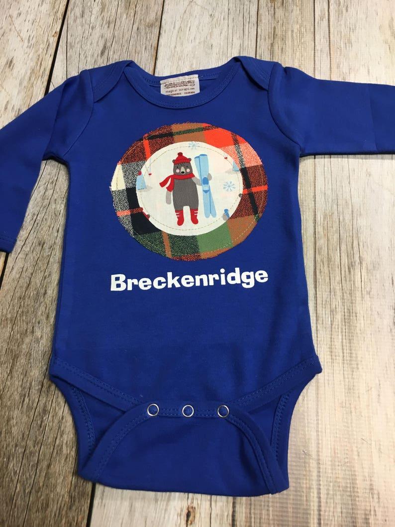 Baby Boy Gift Bodysuit  Skiing Bear in Royal Long Sleeve image 0