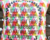 """Pillow Cover 14"""" : """"Good thoughts"""" on br..."""