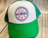 Toddler/Kids Girls Trucker Hat- Wild and Free Patch -Kelly Green/ White Trucker Cap