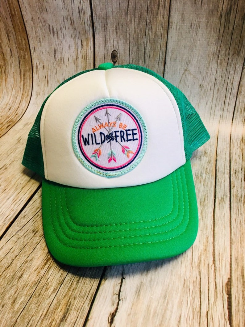 Toddler/Kids Girls Trucker Hat Wild and Free Patch Kelly image 0