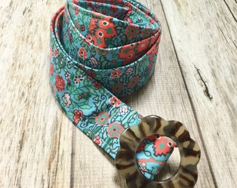 Women's Fabric Belt - Sky Blue and Coral Boho Floral