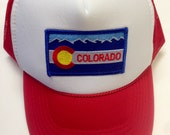 Youth Red Trucker Hat-with Colorado Flag Patch-kids trucker hat