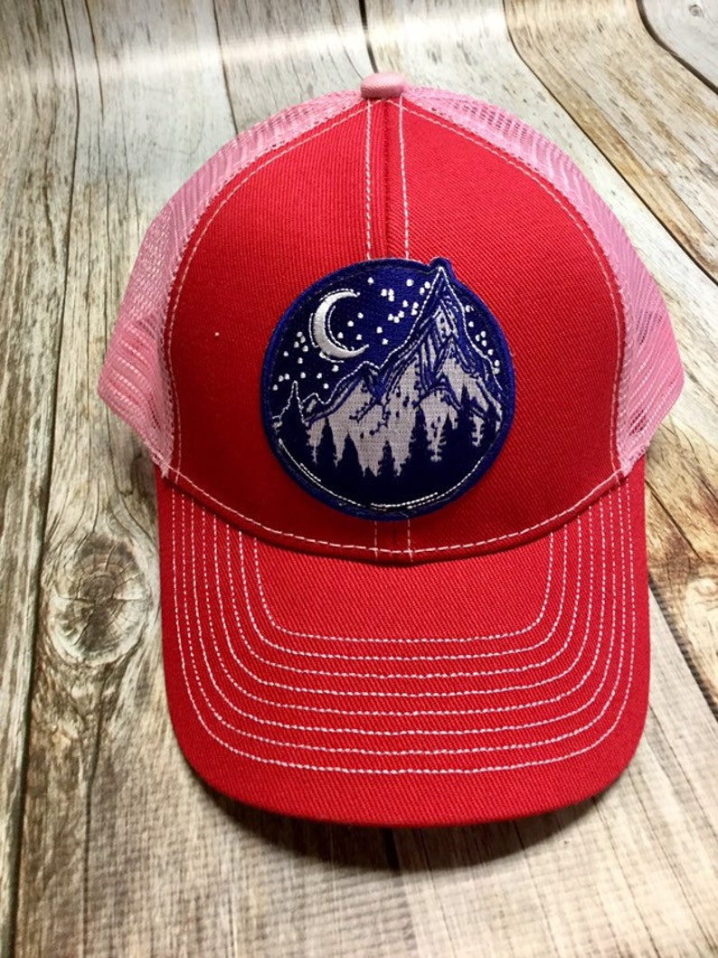 Women's Trucker Hat  Navy Mountain Patch  Red and Pink image 0