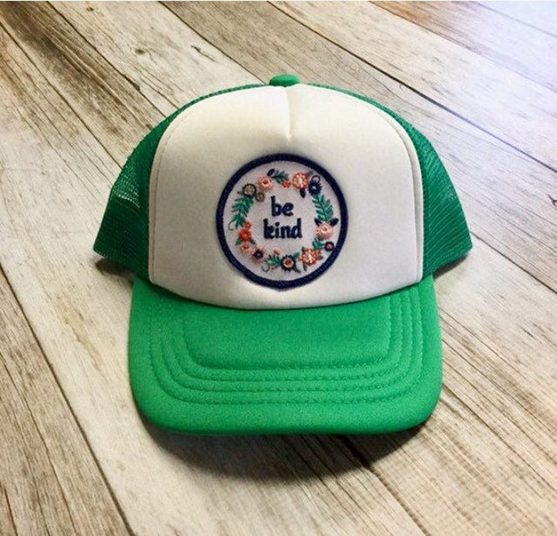 Green Toddler Trucker Hat  with Be Kind Patch-12 image 0