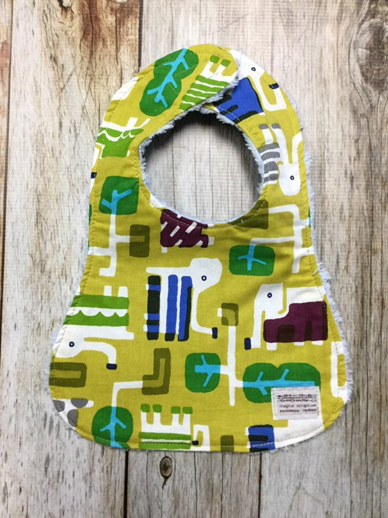 Gender Neutral Bib in Geometric Elephant Fabric  Baby Shower image 0