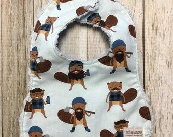 Baby Bib in Blue Burly Beaver Print