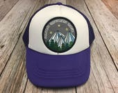 """Girls Youth Kids Purple Trucker Hat with """"Mountain Appreciation Society"""" Patch"""