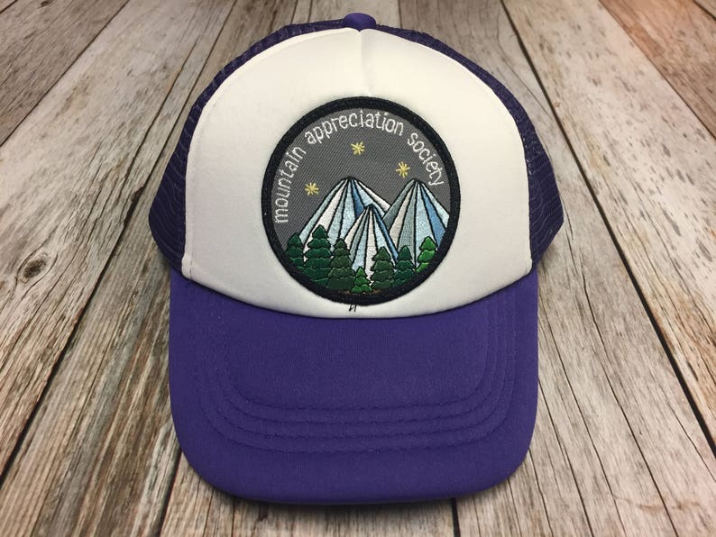 Girls Youth Kids Purple Trucker Hat with Mountain image 0