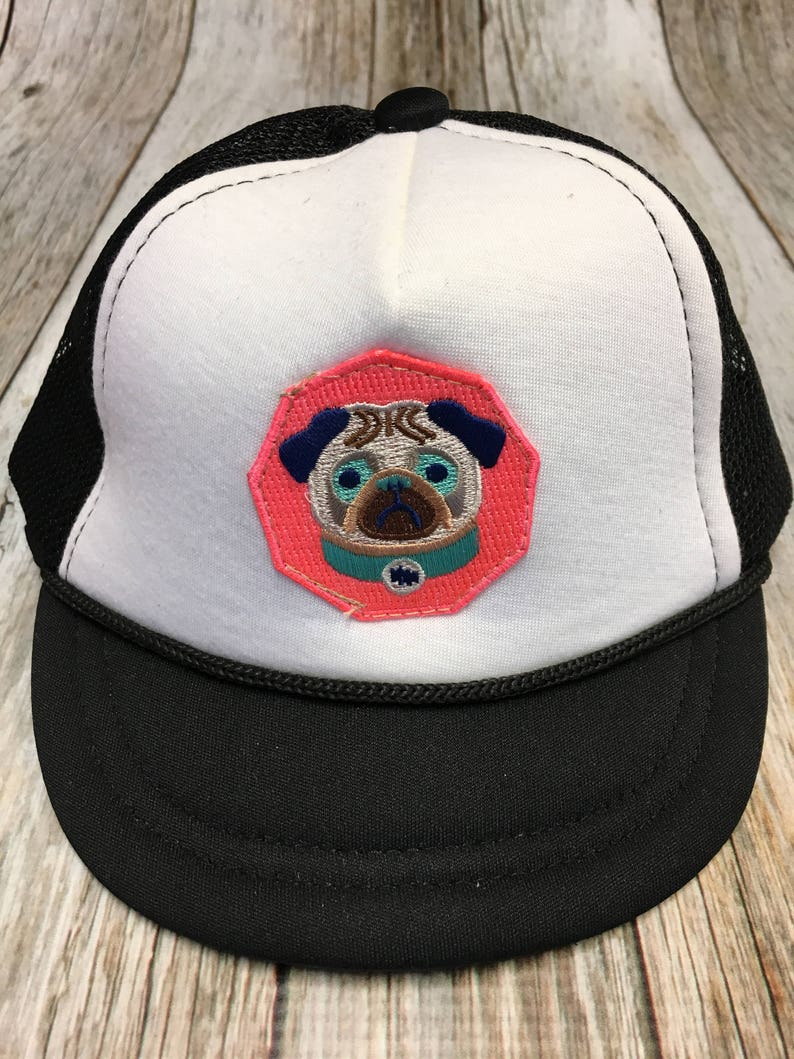 Baby Girl's  Infant Trucker Hat with Pug Patch image 0