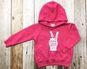 Girl's Hoodie - Peace- Feelin' Groovy- Toddler/Kids Sweatshirt- Appliqué Hoodie - Pink