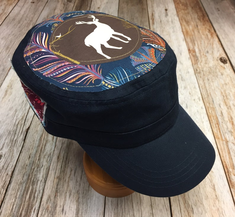 Women's Military Hat  Multi-Colored Feather Print with image 0