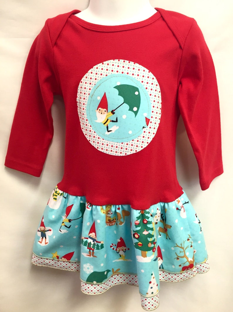Girls Red Christmas Dress Applique Holiday Frock with image 0