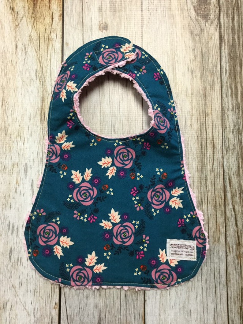 Baby Girl Bib in Blue and Mauve Floral Fabric  Baby Shower image 0