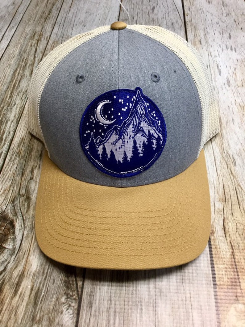 Women's Trucker Hat  Navy Mountain Patch  Tan and Grey image 0