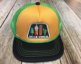 """Toddler Trucker Hat with """"Hello World"""" Patch-6 Months to 2 Years Old"""