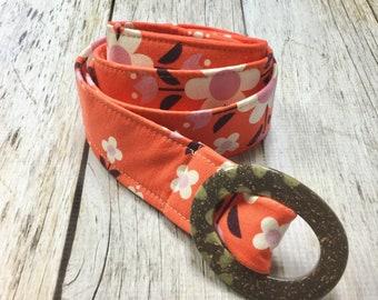 Women's Fabric Belt - Retro Orange Floral