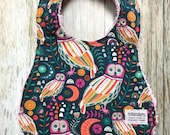 Baby Girl Bib in Owl and Floral Fabric - Baby Shower Gift-Baby Girl-Baby Accessories