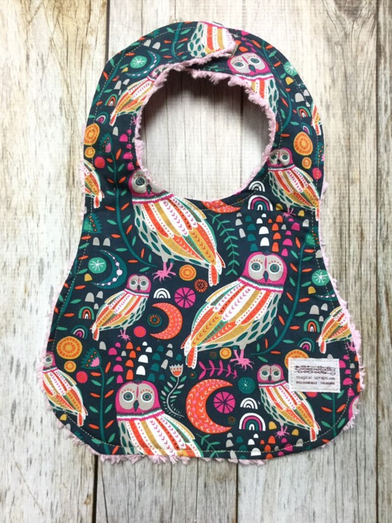 Baby Girl Bib in Owl and Floral Fabric  Baby Shower Gift-Baby image 0