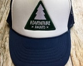 """Youth Navy Trucker Hat with """"Adventure Awaits"""" Patch- Kids Trucker Hat"""