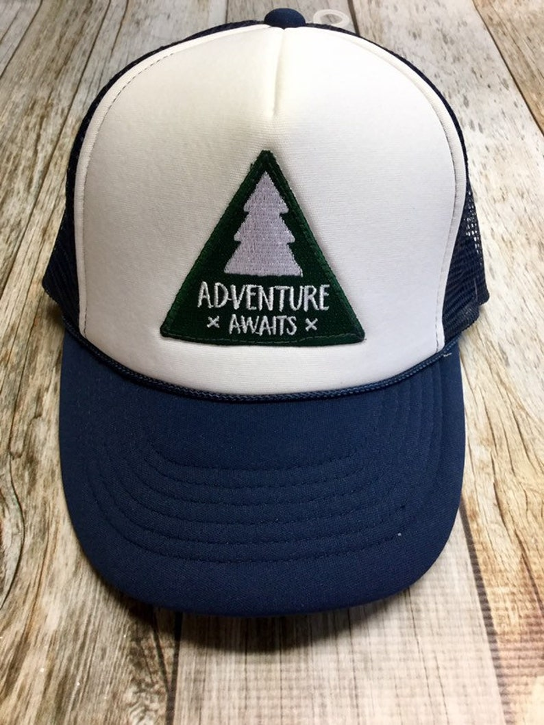 Youth Navy Trucker Hat with Adventure Awaits image 0