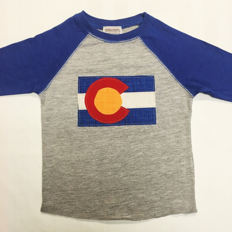 Boys Colorado Flag Baseball Tee Blue Boys Baseball Tee image 0