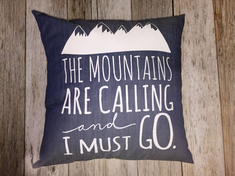 Denim 14 Pillow Cover :  The Mountains Are Calling image 0