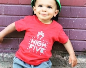 """Infant Red Short Sleeved Shirt with """"High Five"""" Heat Press"""