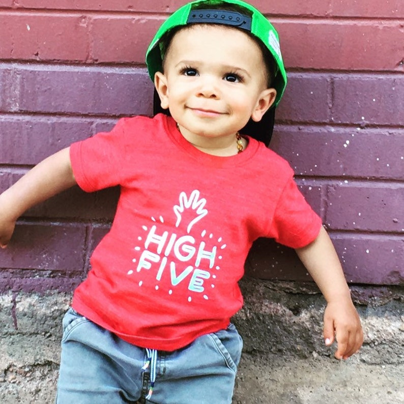 Infant Red Short Sleeved Shirt with High Five Heat image 0