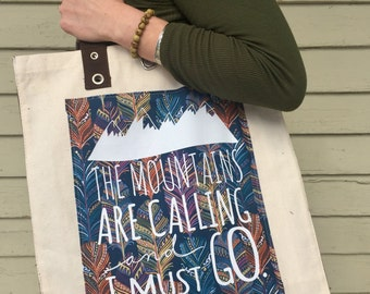 """Tote Bag - """"The Mountains Are Calling"""" - Natural with Navy Gusset and Handles"""