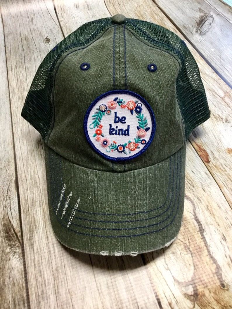 Women's Trucker Hat  Floral Be Kind Patch  Forest Green image 0