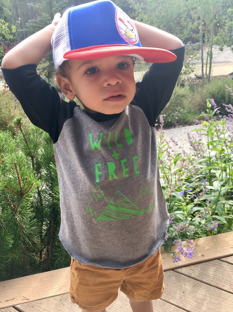 Wild And Free Toddler Boy Tshirt Baseball Raglan Shirt Gnome image 0
