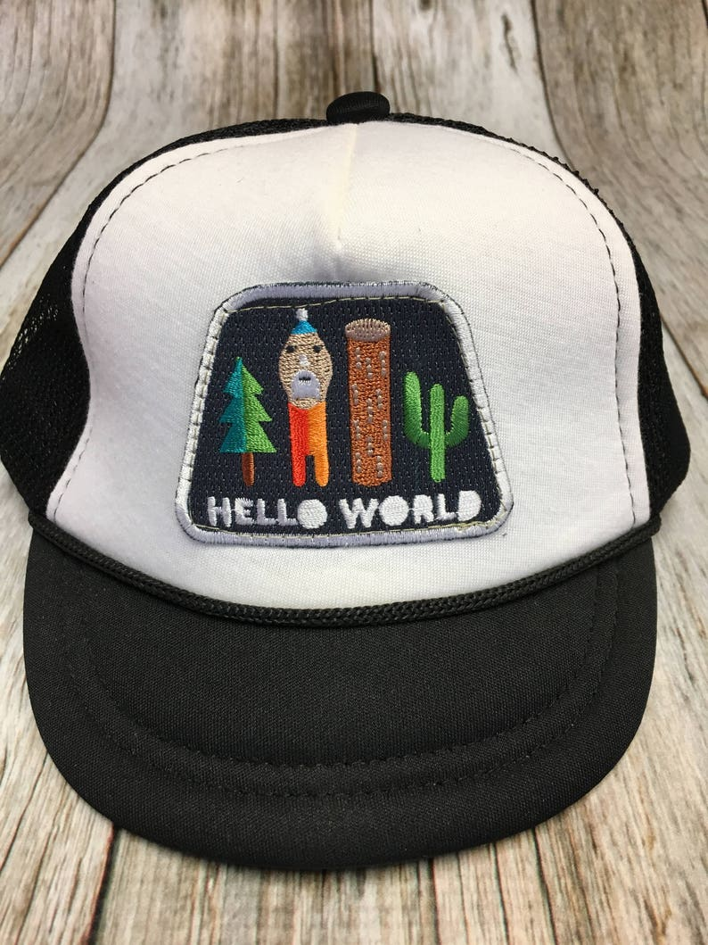 Unisex Infant Trucker Hat with Hello World Patch image 0