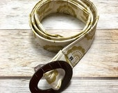 Women's Fabric Belt - Gold Floral with a Cream Background